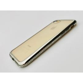 Obal / kryt na iPhone 7/8  plus- kamínkový okraj- stříbrný