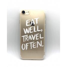 Obal / kryt na iPhone XR  silikonový  eat well, travel often