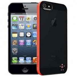 Obal / kryt na iPhone 5 / 5S Belkin černý - okraj lososový